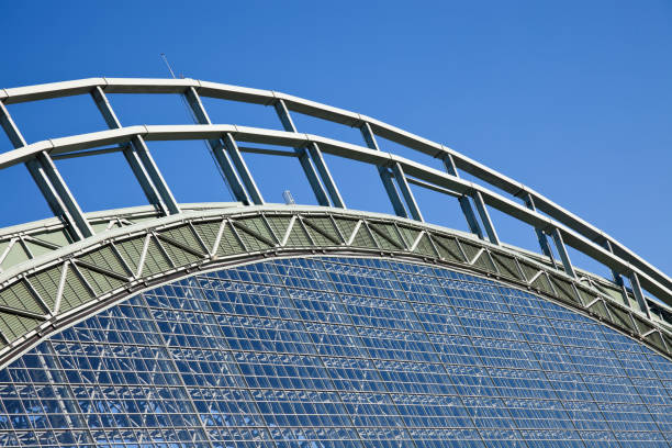 Miller Park Milwaukee, Wisconsin, USA - August 24, 2011: Roof of Miller Park seen with blue sky seen during cloudless summer day. Miller Park was built in 2001 and is a home for Milwaukee Brewers. The capacity of the stadium is 41,900. miller park stock pictures, royalty-free photos & images