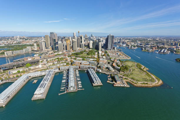 millers point and sydney cbd from the north - barangaroo stock photos and pictures