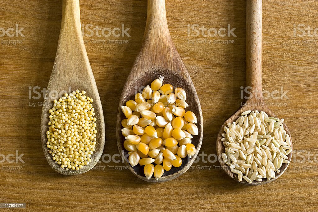 Millet, corn and rice stock photo