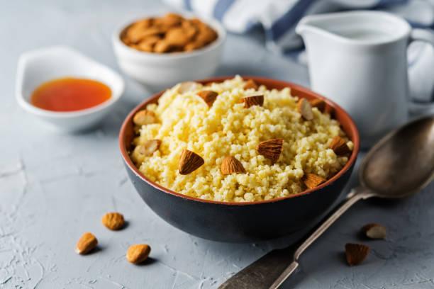 Millet porridge in the bowl stock photo