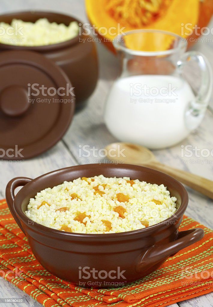 Millet porridge with pumpkin royalty-free stock photo
