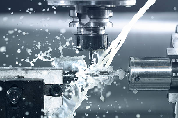 CNC milling at work Close up of CNC machine processing threading stock pictures, royalty-free photos & images