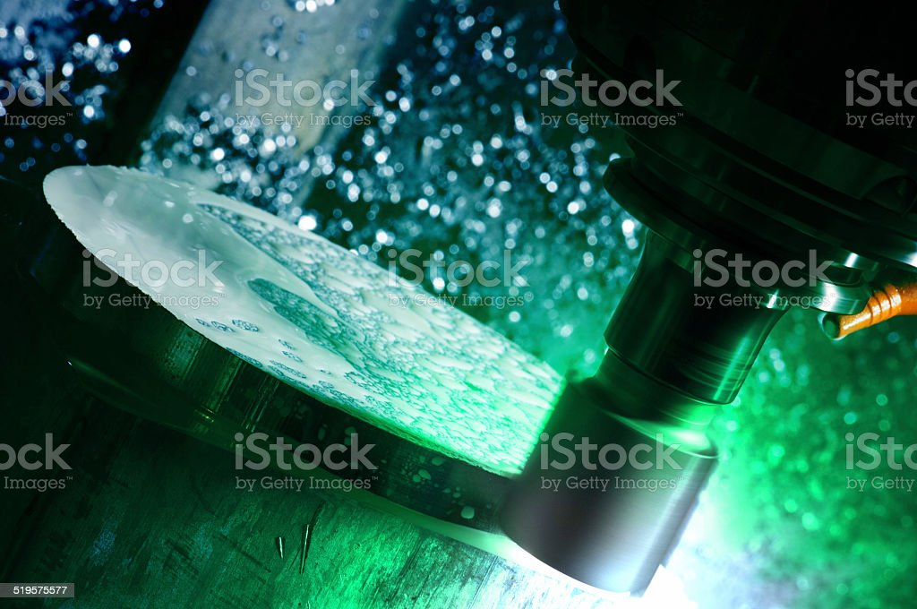 Milling CNC machine in operation stock photo
