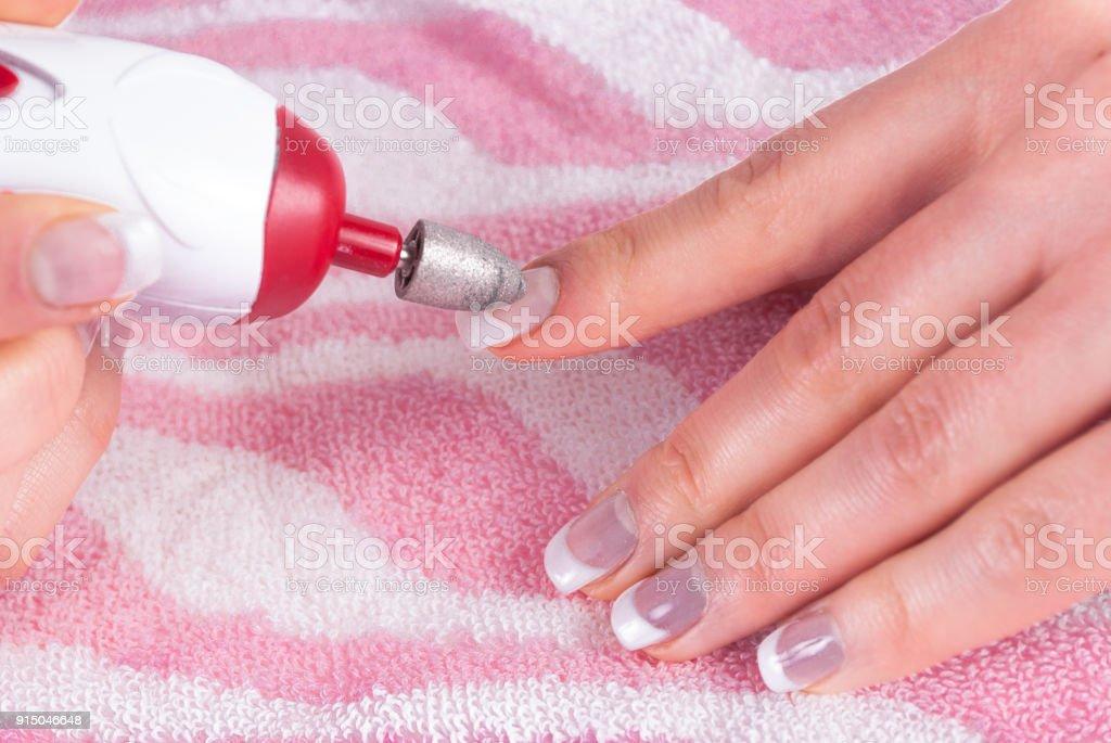 Milling Cutter Tool Entfernen Alte Nägel Gel Im Salon Stockfoto Und