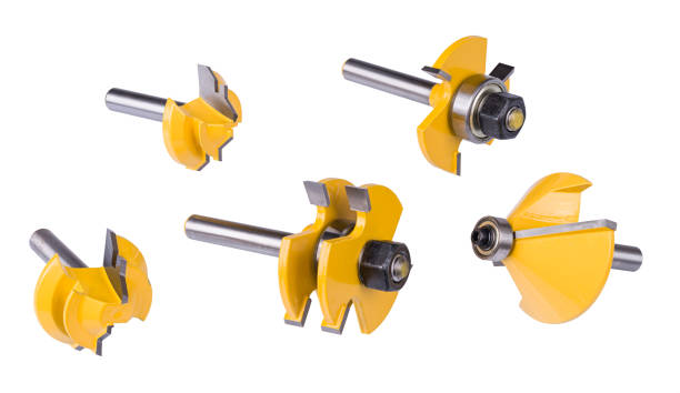 Milling cutters set. Steel cutting tools isolated on white background stock photo