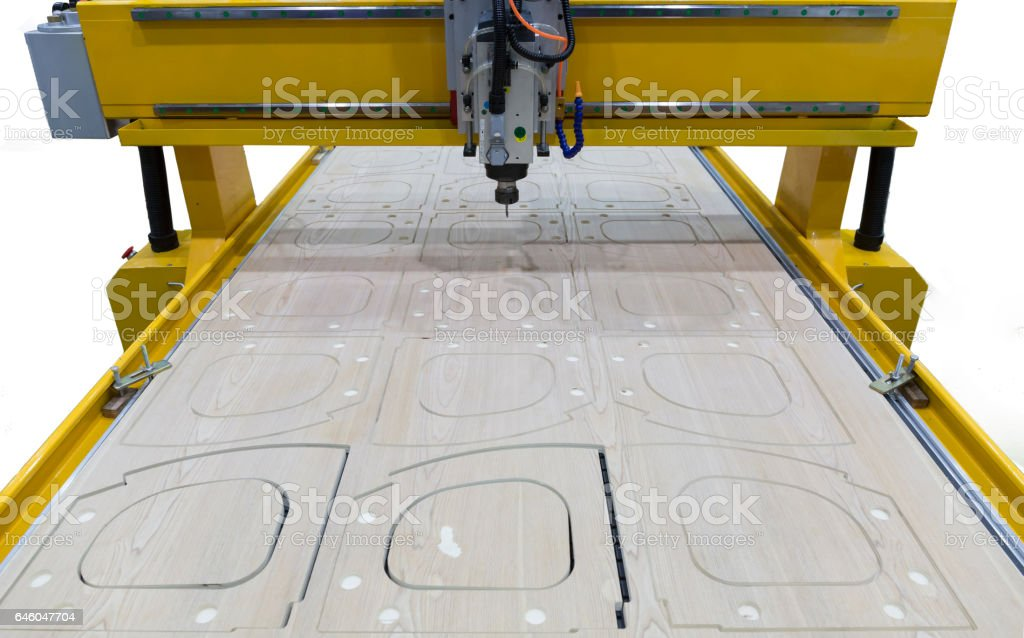 Milling machine for wood during operation. industry stock photo