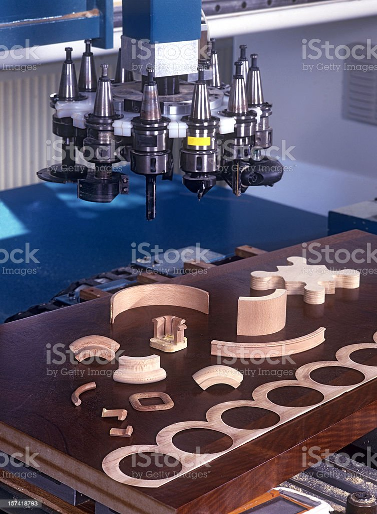 Milling machine for wooden parts stock photo