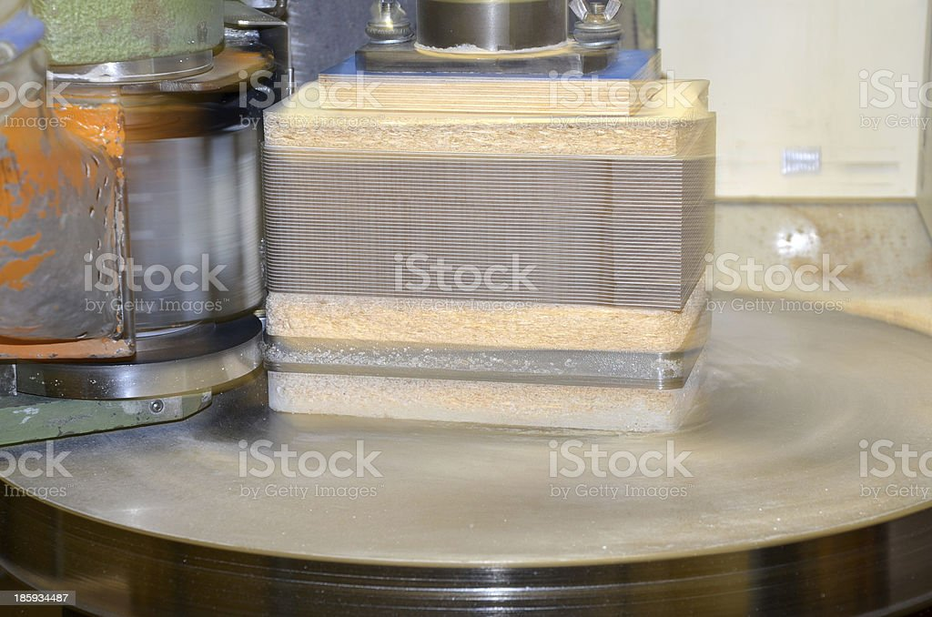 Milling Machine (Rotary cutter) in action stock photo