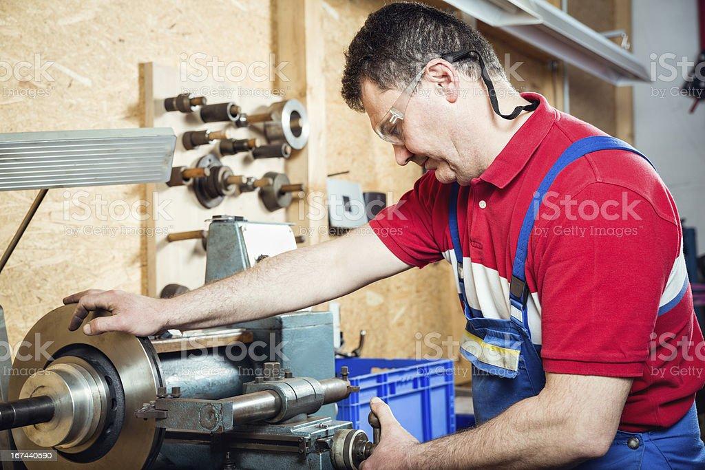 Milling machine operator stock photo