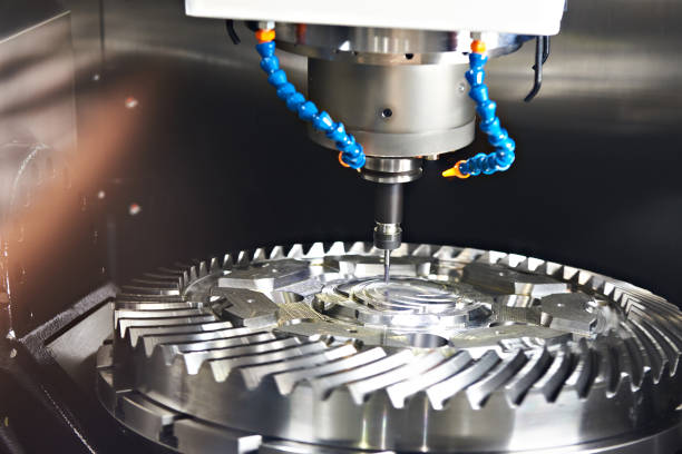 Milling machine with tubes for cooling stock photo