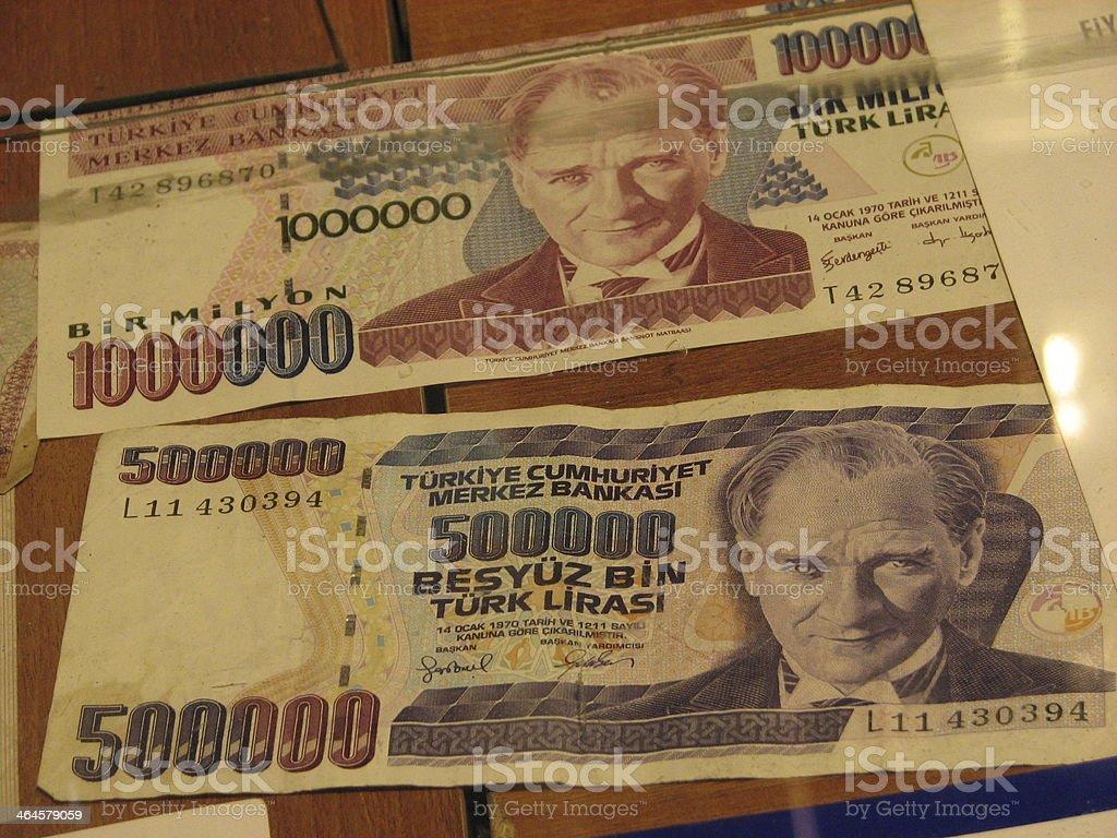 million and half, old currency - Turkish lira with Atatürk stock photo
