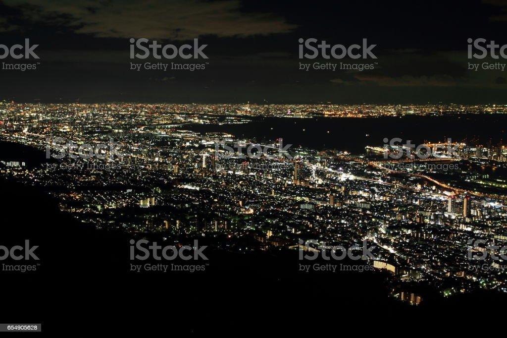 vista de noche de 10 millones de dólares de Kobe, Japón - foto de stock