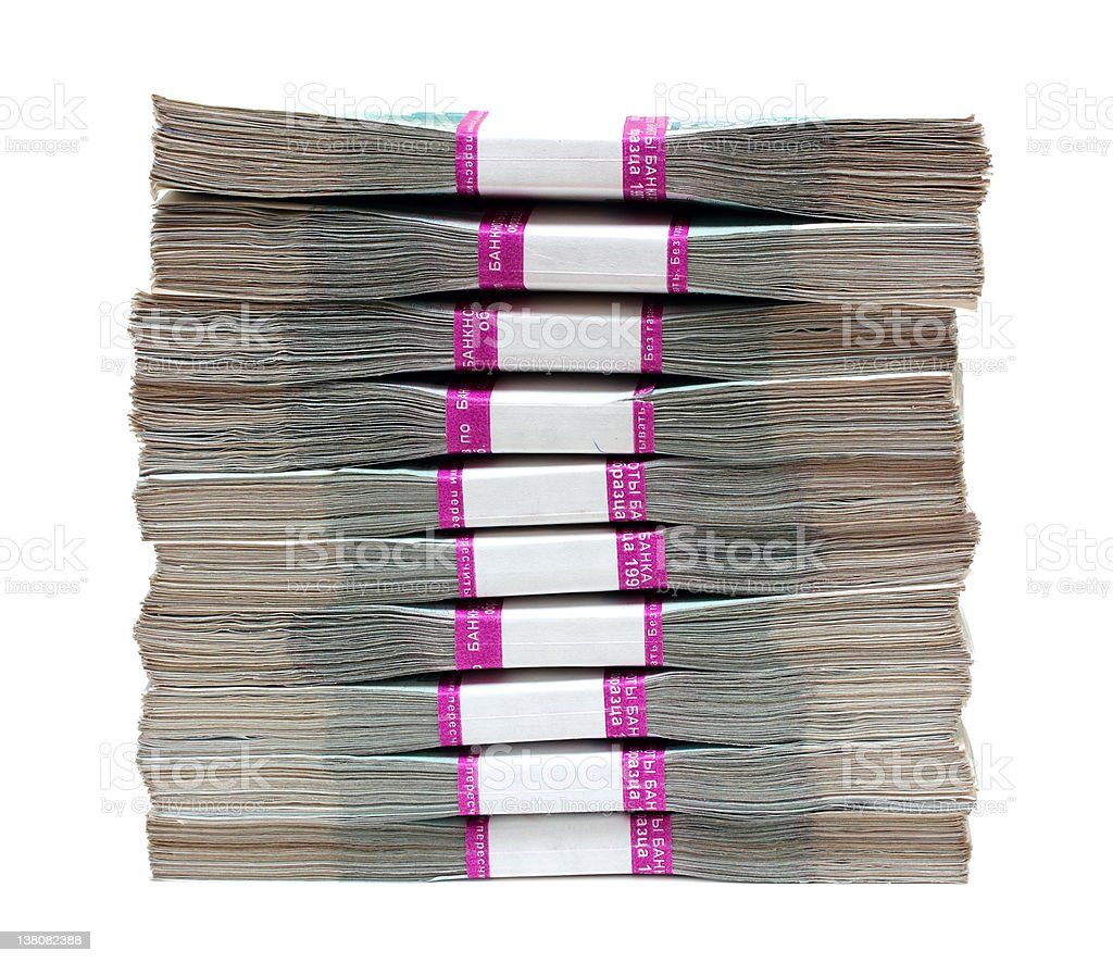 million rubles - stack of bills in packs stock photo