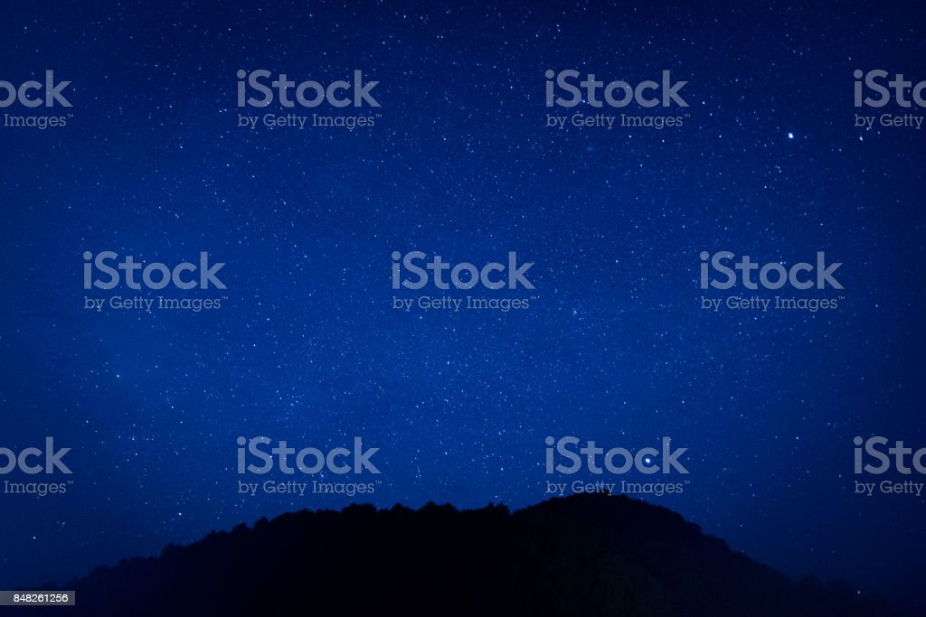 Millions of stars shine in the darkness sky in beautiful nature background. stock photo