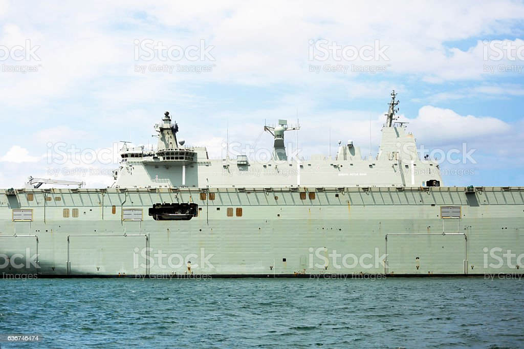 Millitary ship at the harbour in Sydney, copy space stock photo