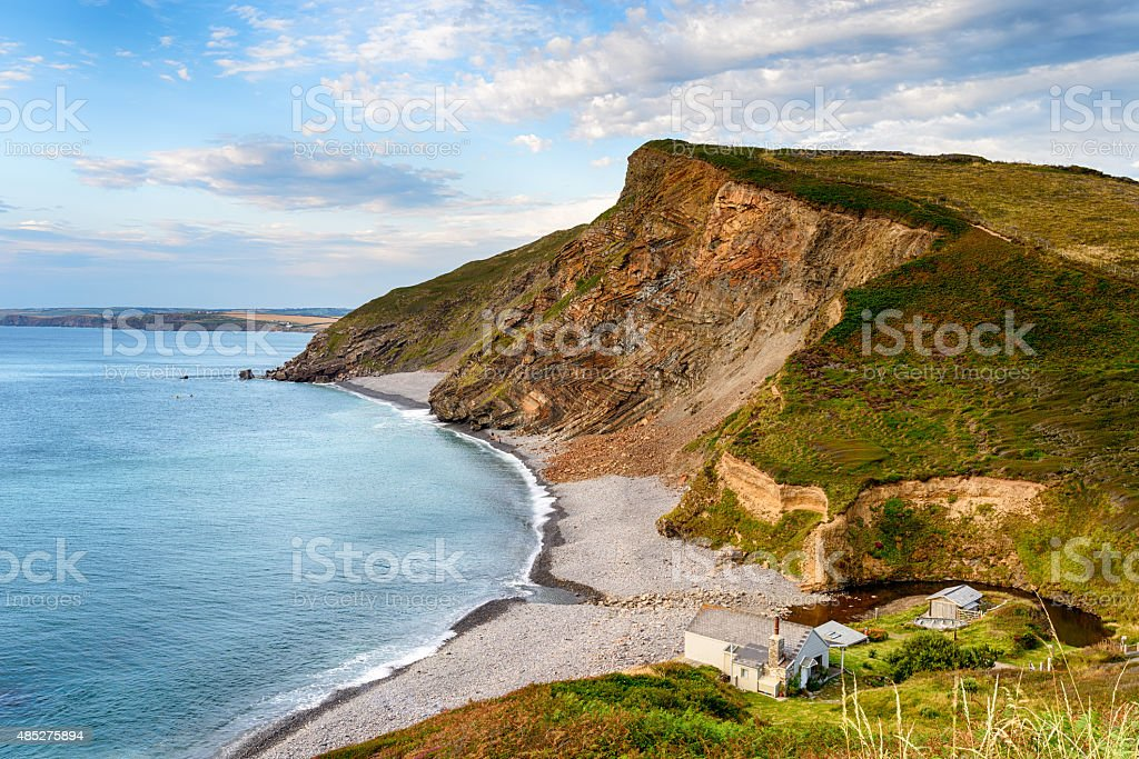 Millook Haven on the North Coast of Cornwall stock photo