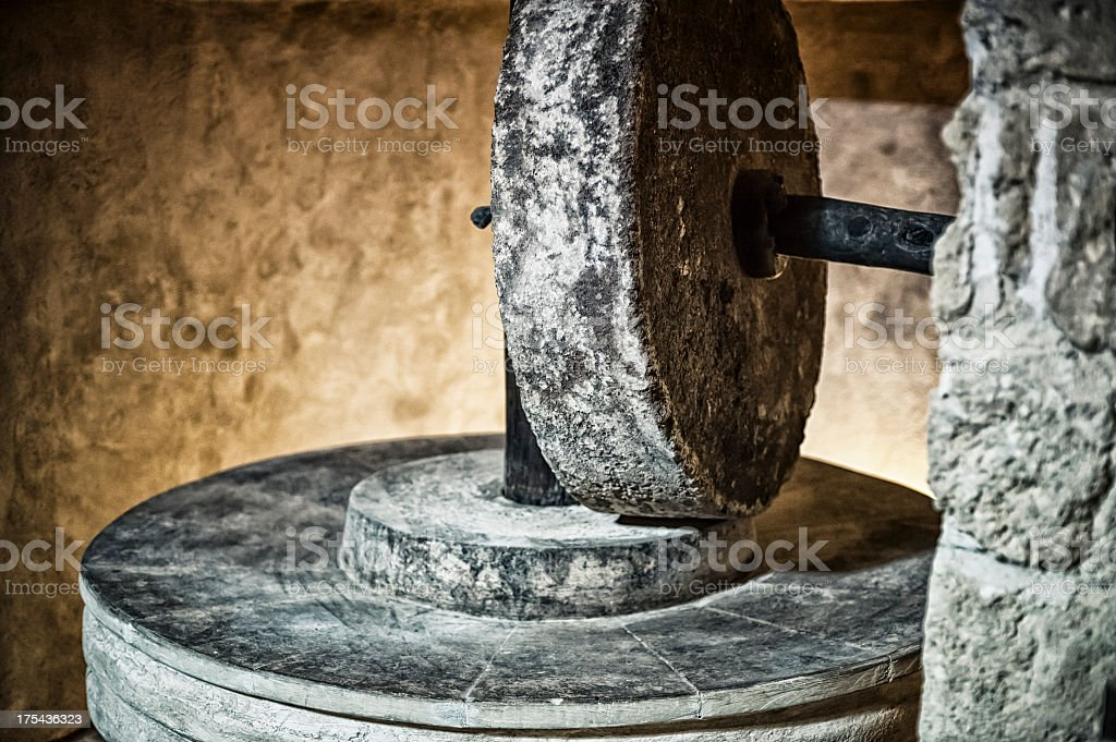 Millstone close up stock photo