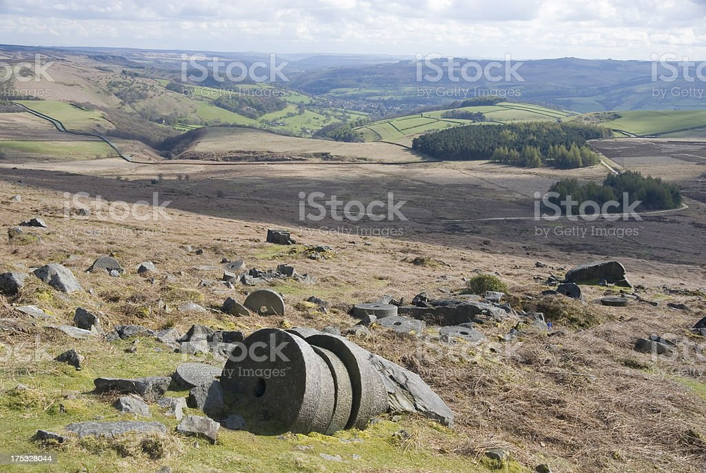 Millstones at Stanage Edge, Peak District, UK royalty-free stock photo