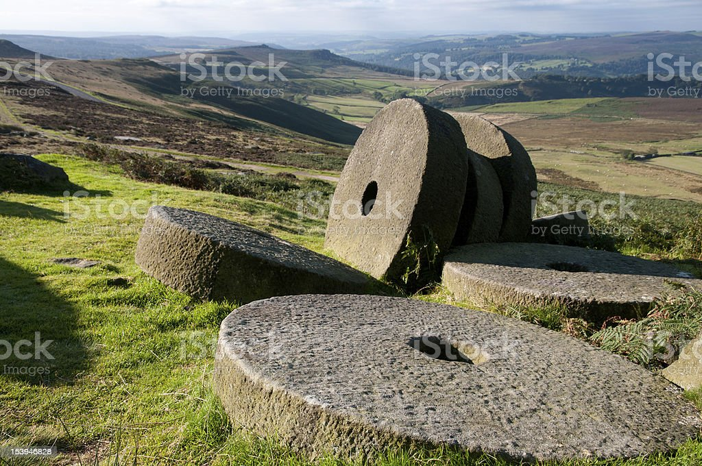 Millstones at Stanage Edge stock photo