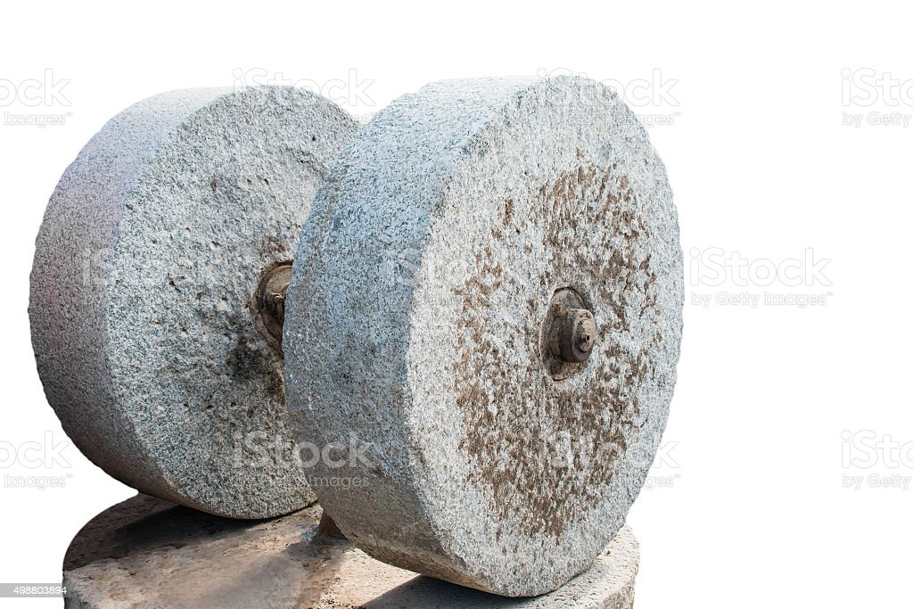Millstones for the extrusion of oil stock photo