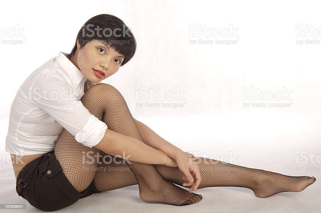 Milly in stockings, sitting stok fotoğrafı