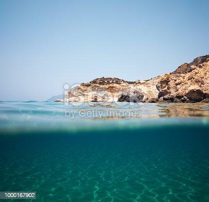 Agios Ioannis beach in Milos Island (Cyclades, Greece). View from underwater.