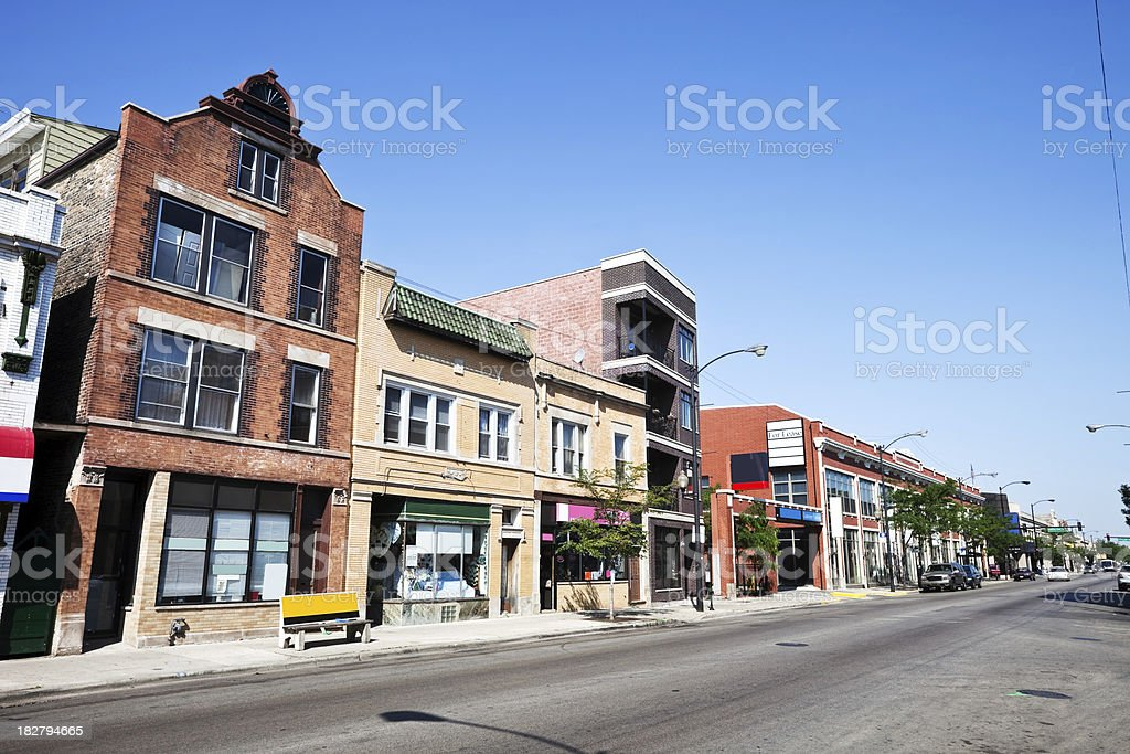 Milwaukee Avenue in Chicago stock photo