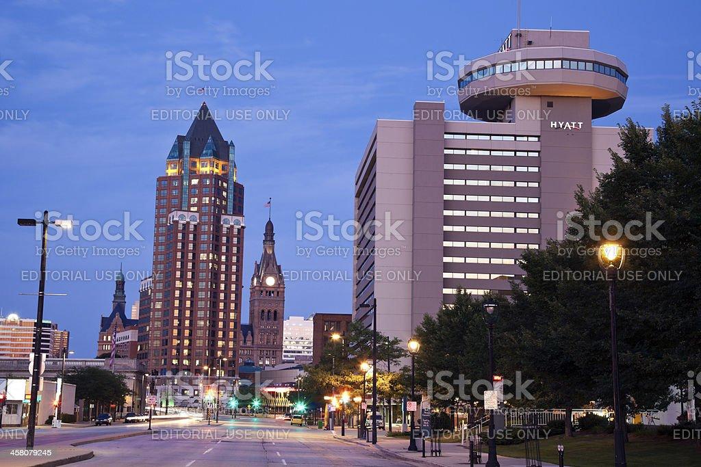 Milwaukee Center, City Hall and Hyatt Hotel stock photo