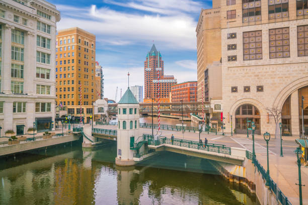 Milwaukee city downtown skyline  USA stock photo
