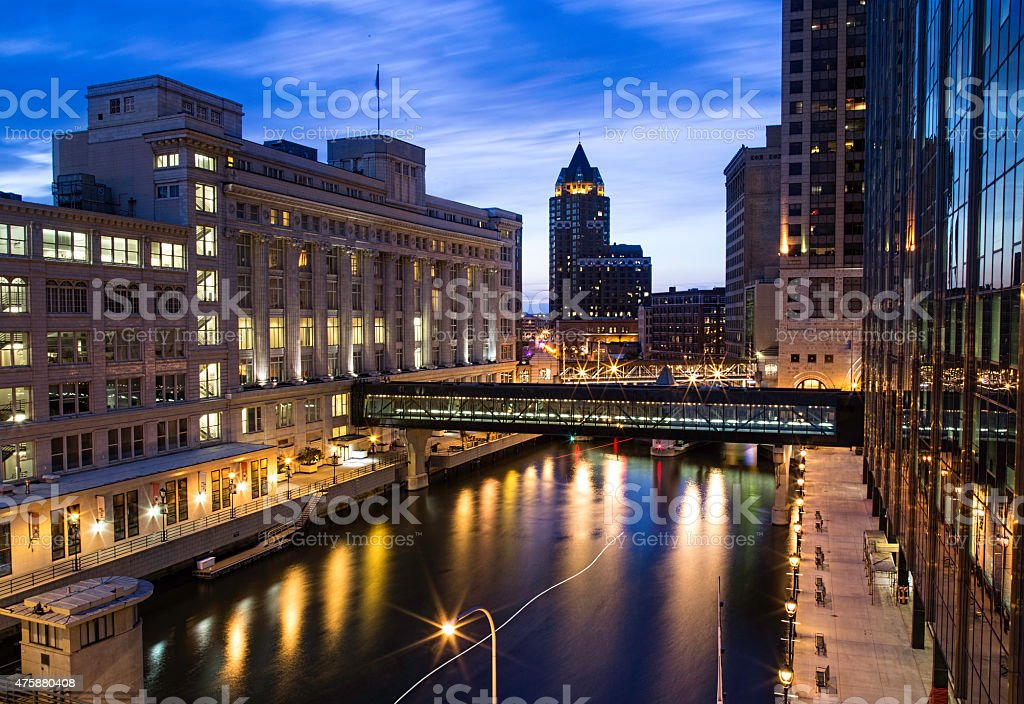 Milwaukee Cityscape of the river downtown stock photo
