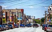 Kinnickinnic Avenue, Bay View district.\nMilwaukee, Wisconsin, USA