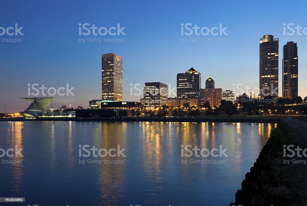 Milwaukee Lakefront and Skyline at Dusk stock photo