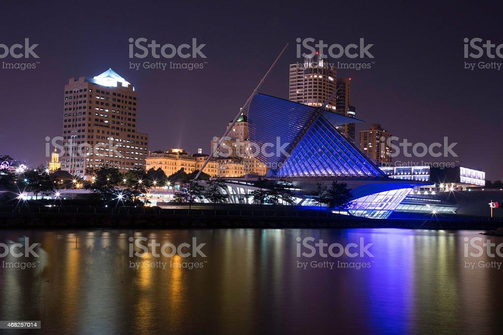 Milwaukee Night Skyline stock photo