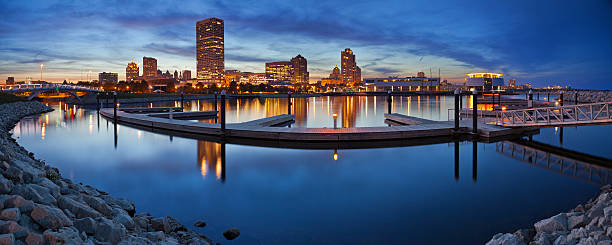 Milwaukee  Panorama. Panoramic image of the Milwaukee lakefront during sunset. This is composite of two horizontal images stitched together in photoshop. milwaukee wisconsin stock pictures, royalty-free photos & images