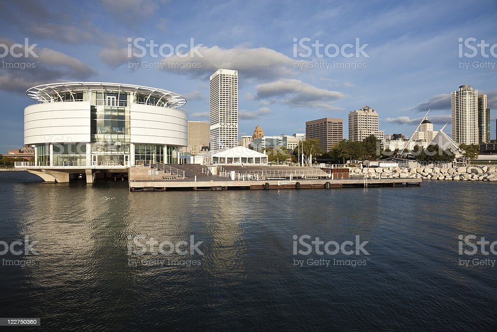 Milwaukee seen from Lakefront stock photo