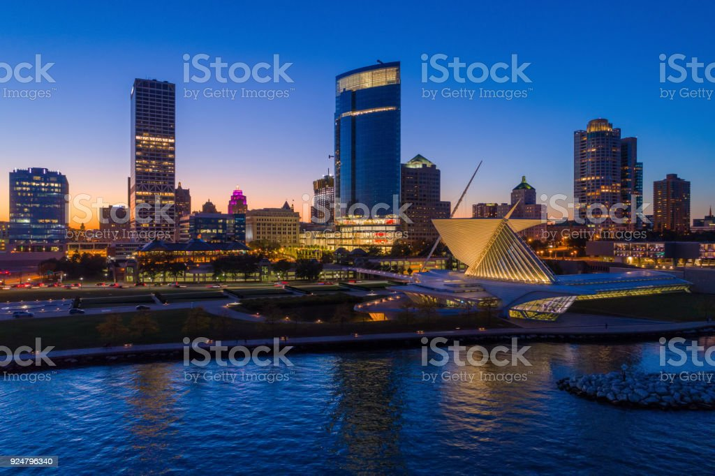Milwaukee Skyline Aerial At Sunset With Shore stock photo