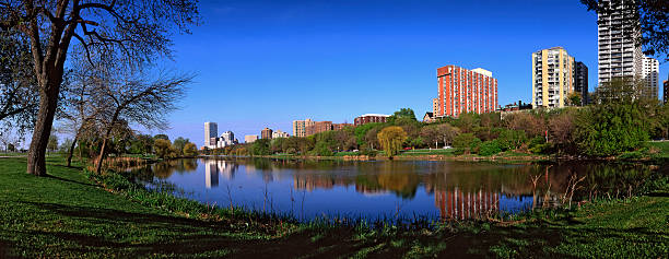 Milwaukee Skyline and Lake. The Milwaukee Skyline with the Beautiful Lake and Park in the Foreground. miller park stock pictures, royalty-free photos & images