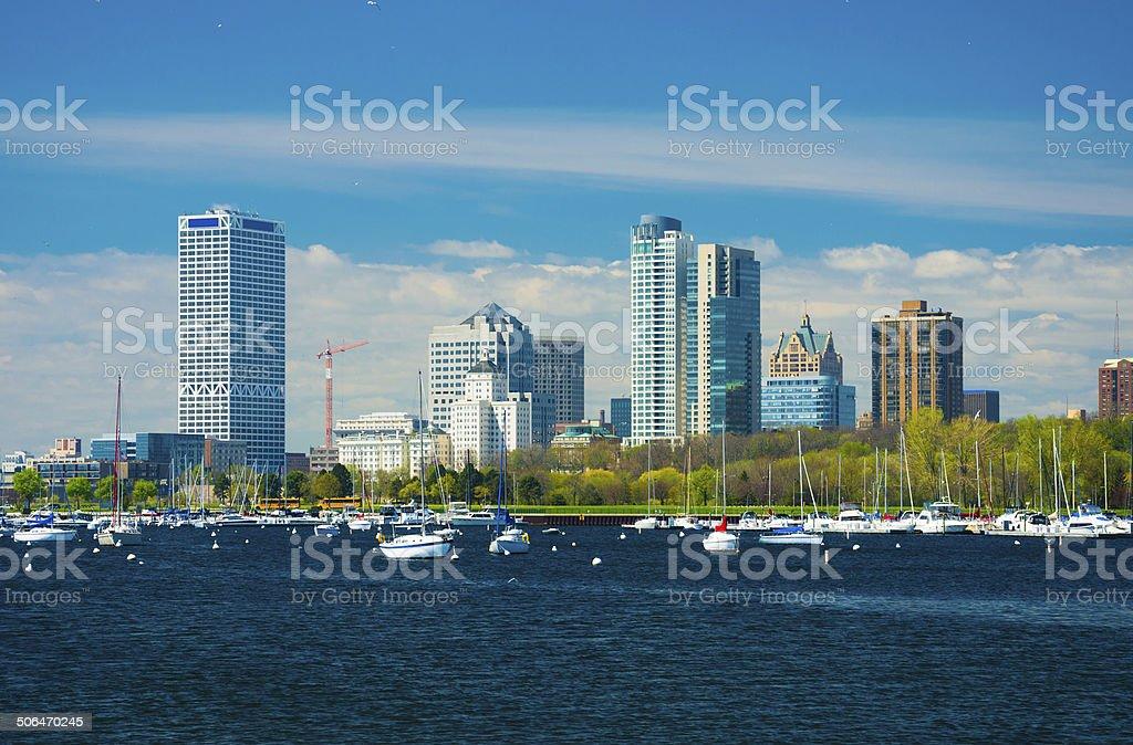 Milwaukee skyline and marina stock photo