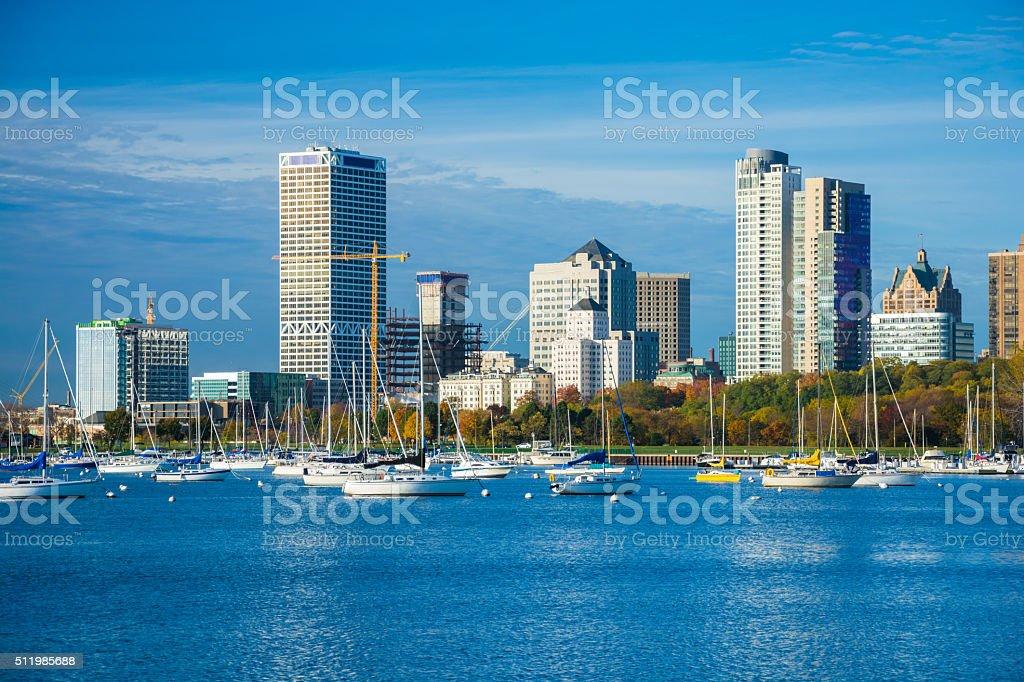 Milwaukee skyline and McKinley Marina during Autumn stock photo
