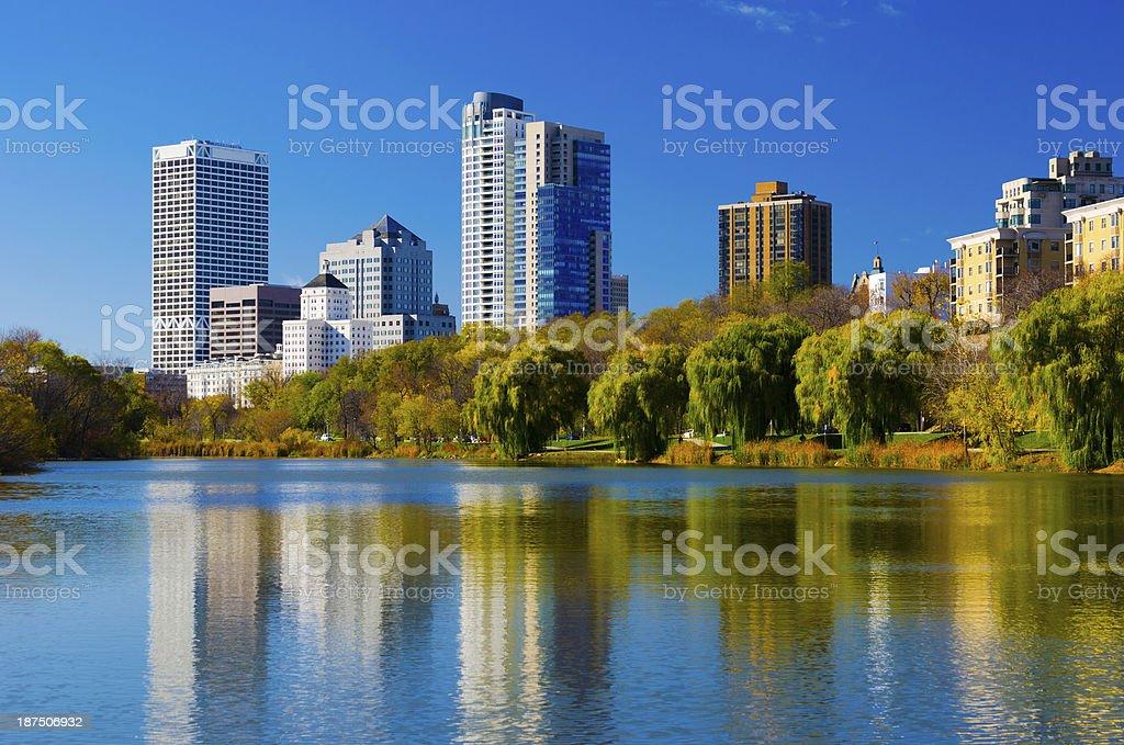 Milwaukee skyline and Veterans Park Pond stock photo