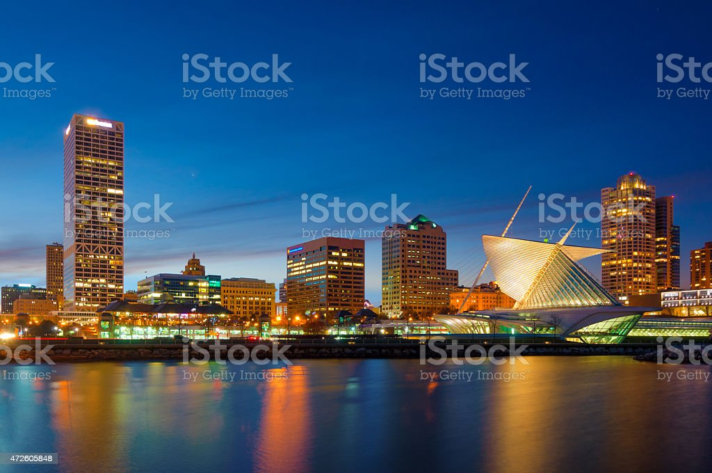 Milwaukee skyline at sunset, including the Milwaukee Art Museum stock photo