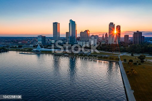 Skyline of the city of Milwaukee, WI at sunset.