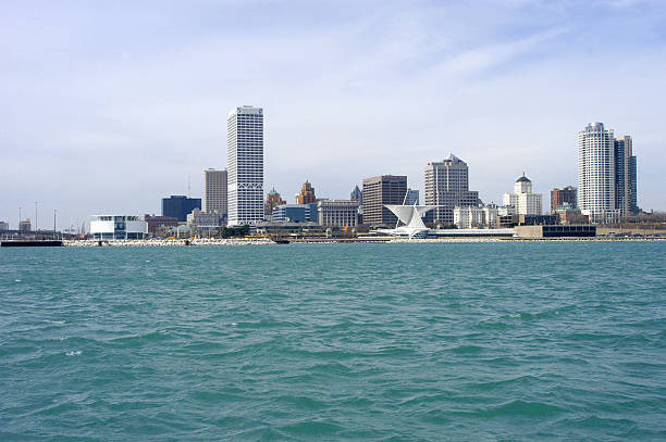 milwaukee skyline from lake - lake michigan stock pictures, royalty-free photos & images