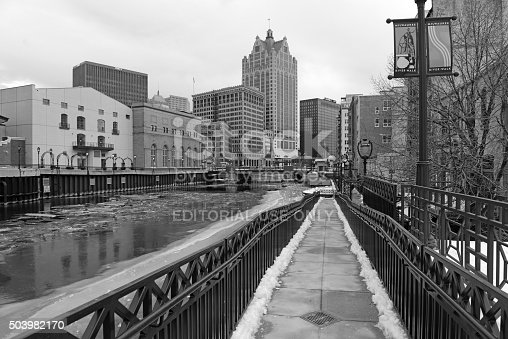 Milwaukee, Wisconsin - January 6, 2016: While being the largest city in Wisconsin, it is also the home of many large firms such as several large Beer Breweries, a top global beer producing city.