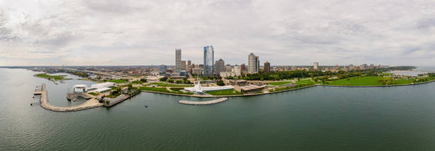 Milwaukee Skyline Panoramic Aerial View Panoramic aerial view of the skyline of city of Milwaukee, WI. milwaukee wisconsin stock pictures, royalty-free photos & images