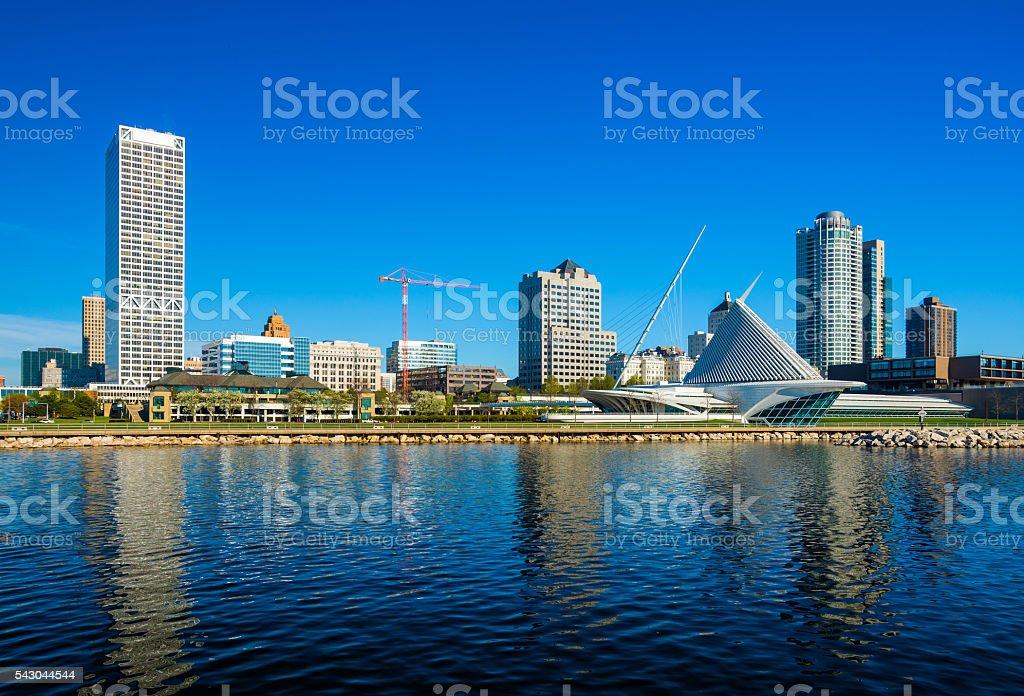 Milwaukee Waterfront Skyline stock photo