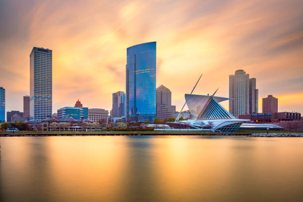 Milwaukee, Wisconsin, USA downtown city skyline on Lake Michigan stock photo