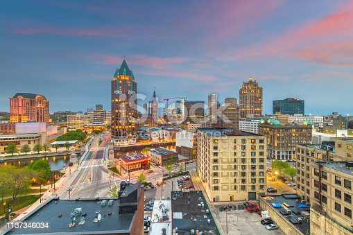Milwaukee, Wisconsin, USA downtown city skyline from above at twilight.