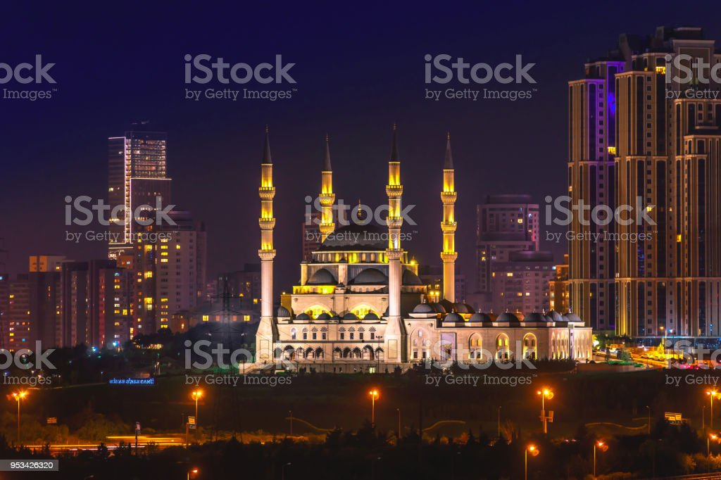 Mimar Sinan Mosque which is placed Atasehir, Istanbul, Turkey stock photo