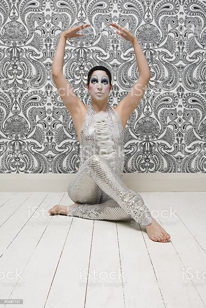 Mime artist posing royalty-free 스톡 사진